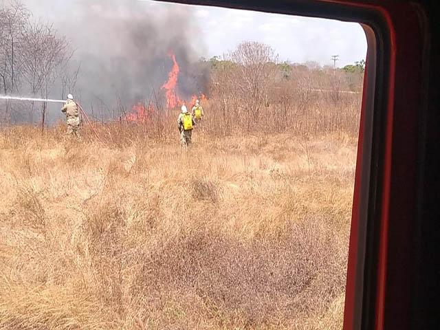 Incêndio atinge vegetação e moradores são retirados de casa, em Limoeiro do Norte