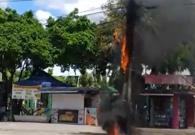 Incêndio em poste deixa moradores sem energia no Bairro João XXIII