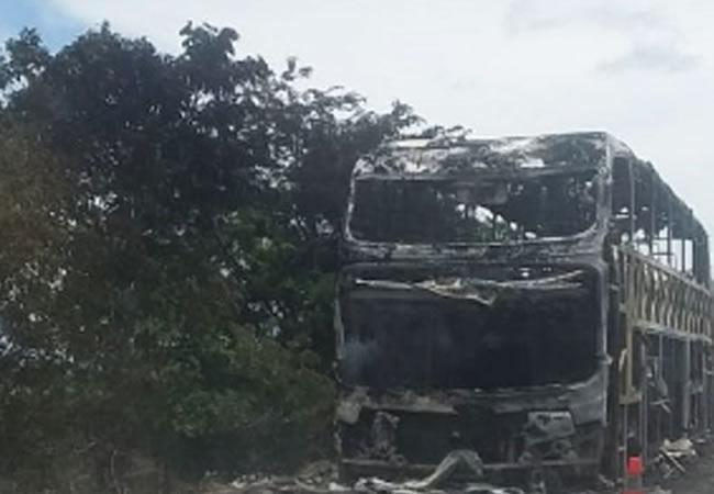 Ônibus que vinha de São Paulo para o Ceará pega fogo na BR-135, na Bahia; ninguém se feriu